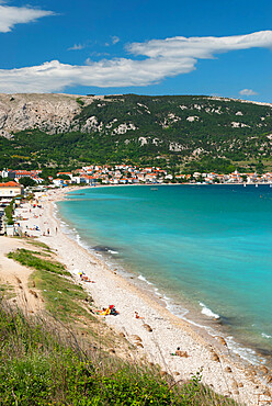 Beach view, Baska, Krk Island, Kvarner Gulf, Croatia, Adriatic, Europe