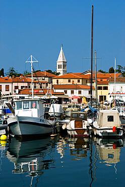 Harbour and Venetian style campanile, Novigrad (Cittanova), Istria, Croatia, Adriatic, Europe