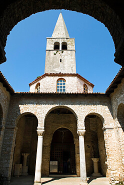The Baptistry and campanile, Basilica of Euphrasius, UNESCO World Heritage Site, Porec, Istria, Croatia, Europe