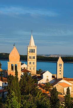 View over campaniles of old town, Rab Town, Rab Island, Kvarner Gulf, Croatia, Adriatic, Europe