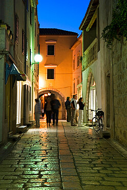 Cobbled street in old town, Rab Town, Rab Island, Kvarner Gulf, Croatia, Europe