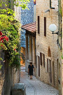 Narrow street in old town, Rab Town, Rab Island, Kvarner Gulf, Croatia, Europe