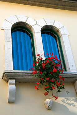 Window in old town, Rab Town, Rab Island, Kvarner Gulf, Croatia, Europe
