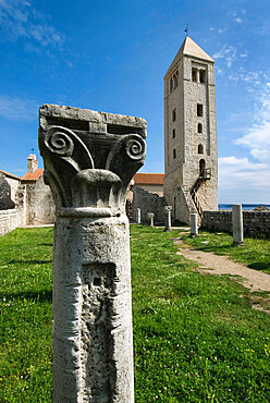 Ruins of Basilica of St. John the Evangelist, Rab Town, Rab Island, Kvarner Gulf, Croatia, Europe