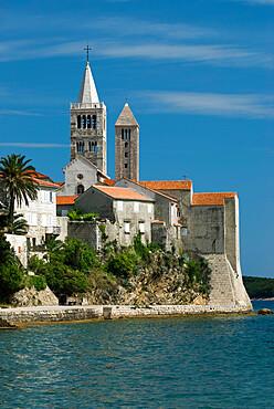 View of old town and campaniles, Rab Town, Rab Island, Kvarner Gulf, Croatia, Adriatic, Europe