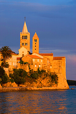 View of old town and campaniles at sunset, Rab Town, Rab Island, Kvarner Gulf, Croatia, Adriatic, Europe