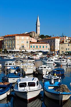 Fishing harbour and St. Euphemia's Church, Rovinj, Istria, Croatia, Adriatic, Europe