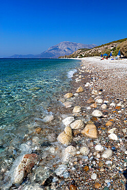 Balos beach and Mount Kerketeas, Ormos Koumeikon, Samos, Aegean Islands, Greece