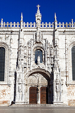 Main entrance with carving of Henry the Navigator, Mosteiro dos Jeronimos, UNESCO World Heritage Site, Belem, Lisbon, Portugal, Europe