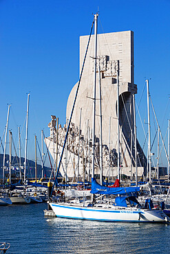 Monument to the Discoveries across marina Doca de Belem, Belem, Lisbon, Portugal, Europe