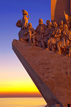 Monument to the Discoveries at dusk, Belem, Lisbon, Portugal, Europe