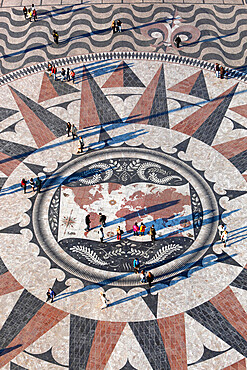 Pavement map showing routes of Portugese explorers below Monument to the Discoveries, Belem, Lisbon, Portugal, Europe