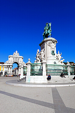 Praca do Comercio with equestrian statue of Dom Jose and Arco da Rua Augusta, Baixa, Lisbon, Portugal, Europe