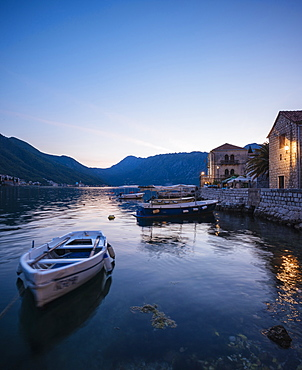 Perast at twilight, Bay of Kotor, UNESCO World Heritage Site, Montenegro, Europe