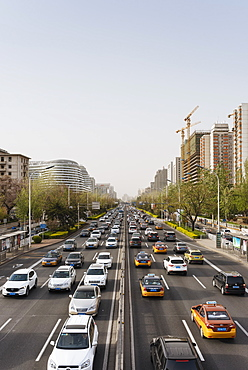 Traffic on main road in central Beijing, China, Asia