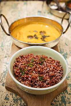 Traditional dish of red rice and chicken soup, Galle, South Coast, Sri Lanka, Asia