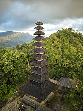 Aerial view of Pura Bukit Sangkan Gunung, Sidemen, Bali, Indonesia, Southeast Asia, Asia