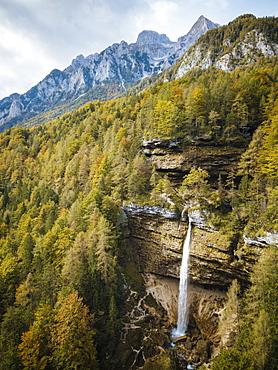 Aerial view by drone of Pericnik Waterfall, Triglav National Park, Upper Carniola, Slovenia, Europe