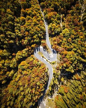 Aerial view by drone of Vrsic Pass, Julian Alps, Triglav National Park, Upper Carniola, Slovenia, Europe