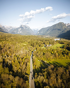 Aerial view by drone of Highway, Triglav National Park, Upper Carniola, Slovenia, Europe