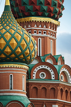 Exterior detail of St. Basil's Cathedral, Red Square, UNESCO World Heritage Site, Moscow, Moscow Oblast, Russia, Europe