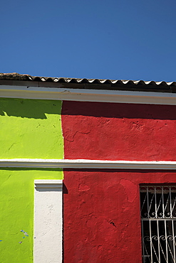 Facade of colourful building, Getsemani Barrio, Cartagena, Bolivar Department, Colombia, South America