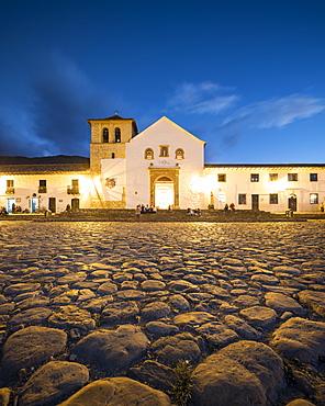 Plaza Mayor at twilight, Villa de Leyva, Boyaca, Colombia, South America