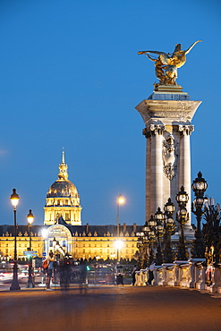 Pont Alexandre III and Les Invalides, Paris, Ile-de-France, France, Europe