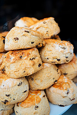Scones on display, Bourton-on-the-Water, Cotswolds, Gloucestershire, England, United Kingdom, Europe