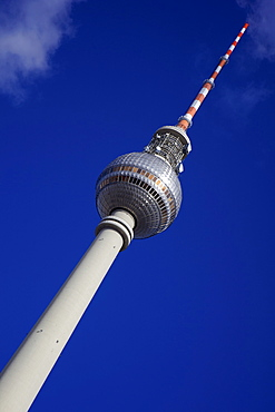 Television tower (TV) with blue sky, Berlin, Germany, Europe