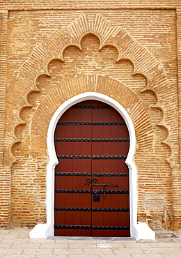 Traditional doorway to Koutoubia Mosque, UNESCO World Heritage Site, Marrakech, Morocco, North Africa, Africa