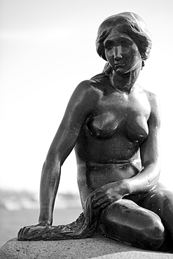 Black-and-white picture of the Statue of The Little Mermaid in Copenhagen, Denmark, Scandinavia, Europe