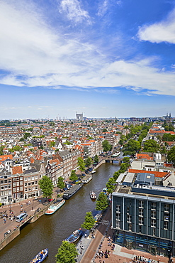 View of the Jordaan and Prinsengracht from the top of Westerkerk church, Amsterdam, North Holland, The Netherlands, Europe