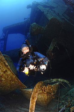 Mixed gas rebreather divers on ship wreck.  Red Sea.