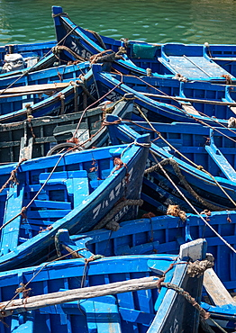 Blue boats bow to bow, Essaouira, Morocco, North Africa, Africa