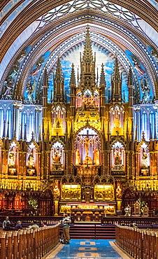 Notre-Dame Basilica Interior, Montreal, Quebec, Canada, North America