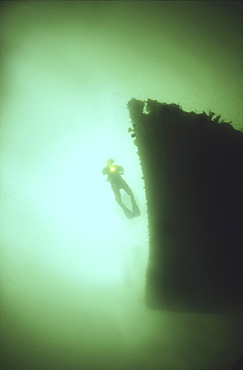 Diver on bows of German Light Cruiser Coln II, Scapa Flow, Orkney islands, Scotland, UK