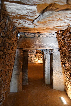 Dolmen de Romeral, a Chalcolithic period ritual monument, showing the corbelled construction of the entrance passage, Antequera, Malaga Province, Andalusia, Spain, Europe