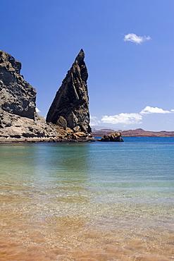 Famous pinnacle at Bartholome Island in the Galapagos Island Archipeligo, Ecuador.