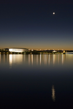 New moon above Australian National Library and Lake Burley Griffin, Canberra, Australian Capital Territory, Australia - 994-8