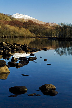 Loch Awe with snow capped Ben Cruachan in background.  Argyll, Scotland