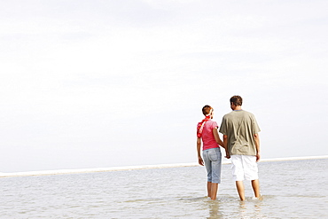 Couple wading in ocean