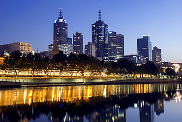 Cityscape with reflection in Yarra river, Melbourne, Victoria, Australia