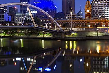 Cityscape with Flinders Street Station, Melbourne, Victoria, Australia