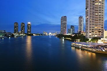 Chao Phraya River's banks at night, Thailand, Bangkok