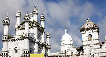 Devatagaha Mosque and town hall against cloudy sky, Sri Lanka, Colombo