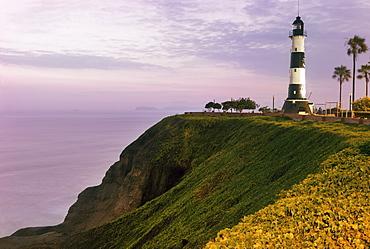 Miraflores, Lighthouse at sunset, Peru, Lima, Miraflores