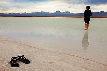 View to Laguna Tebinquiche, Chile, Antofagasta Region, Atacama Desert, Laguna Tebinquiche