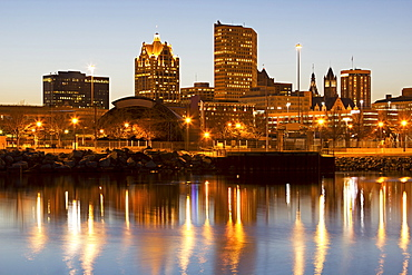 Street lights reflecting in lake, Milwaukee, Wisconsin