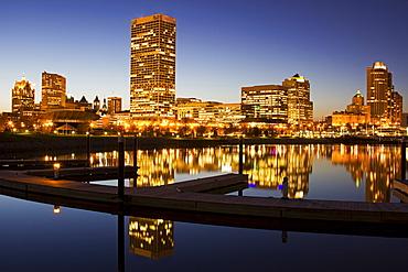 Skyscrapers reflecting in Lake Michigan, Milwaukee, Wisconsin
